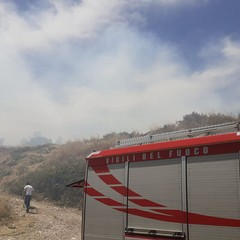 incendio nella zona di Torre San Pietro, nei pressi di Montegrosso