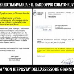 """Ferrotramviaria ed il raddoppio Corato Ruvo e le """"non"""" risposte dell'ass. Giannini"""