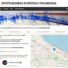 Il terremoto localizzato dall'Istituto Nazionale di Geofisica e Vulcanologia