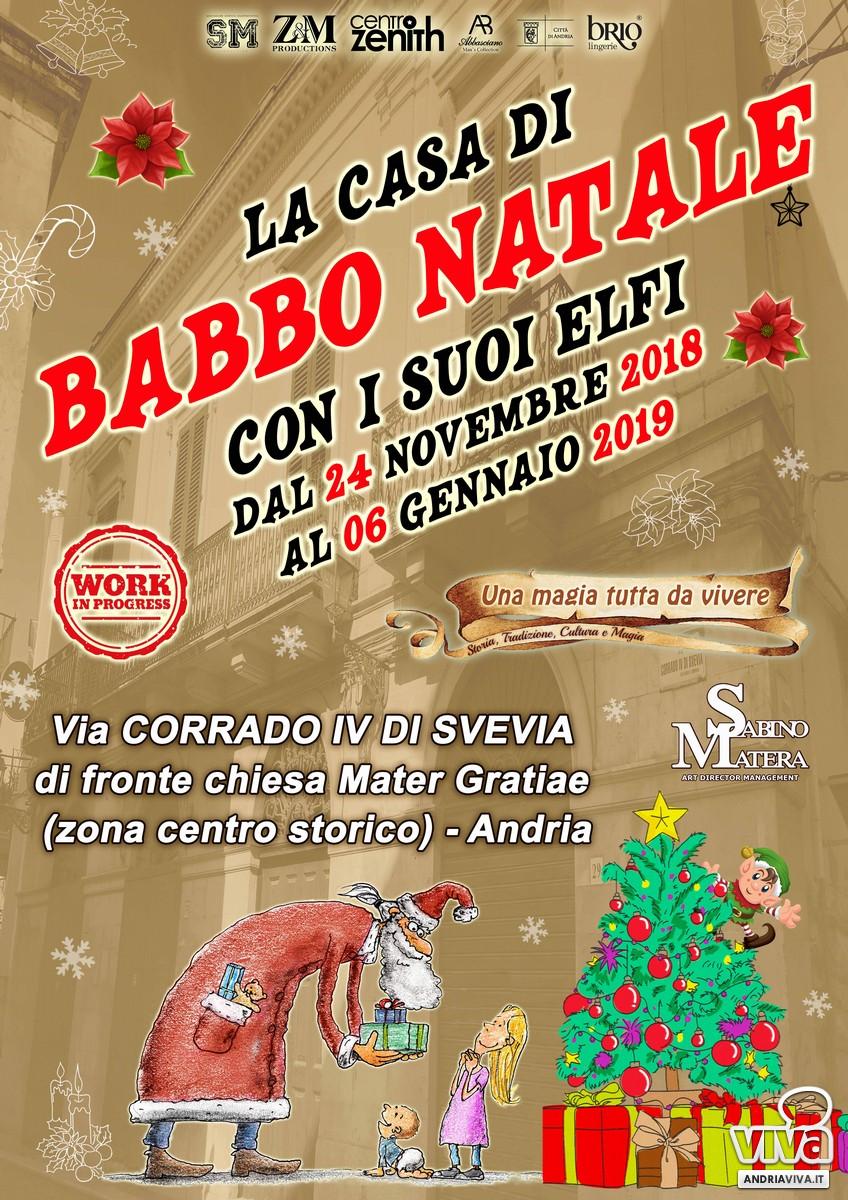 Casa Babbo Natale 2019.La Casa Di Babbo Natale Con I Suoi Elfi Ad Andria Dal 24 Novembre