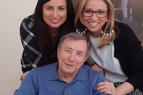 Taddeo Albo con le figlie Luisa e Paola