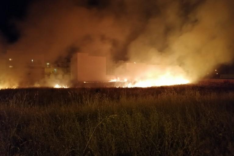 Alte fiamme e fumo si levano da via Catullo e via Saffo: incendio di incolto e rifiuti