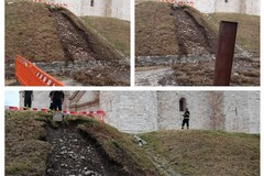 Pioggia torrenziale: Smottamento di parte del declivio del piazzale di Castel del Monte
