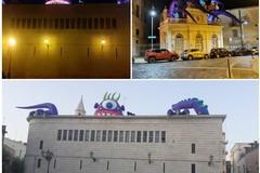 """La piovra gigante con tentacoli colorati annuncia alla città il Festival Internazionale """"Castel dei Mondi"""""""