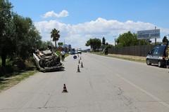 Incidente stradale sulla ex sp 231: un'auto ribaltata