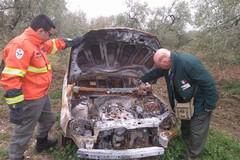 Federiciani trovano un'Opel bruciata abbandonata in campagna