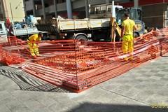 Lavori stradali per impianto idrico e fognario su Via Corrado IV di Svevia