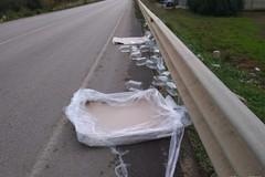Tangenziale di Andria invasa da decine di contenitori di plastica caduti da un camion in transito
