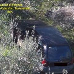 Auto rubate nelle campagne di Andria scoperte con l'elicottero