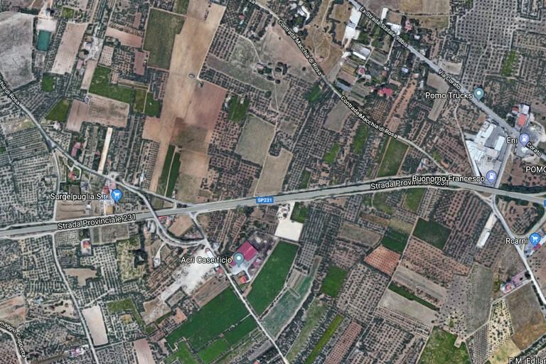 pianta di Andria dove sarà allocato il nuovo ospedale