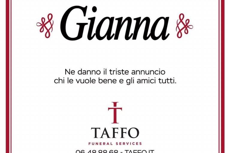 Manifesto funebre Gianna
