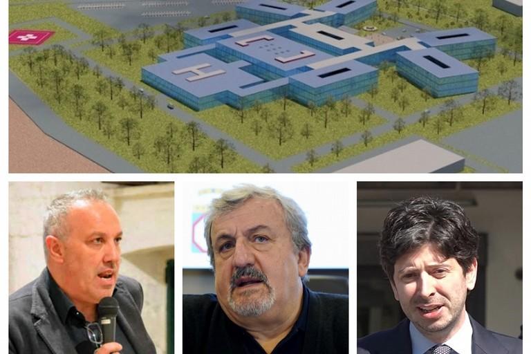 Nuovo ospedale di Andria, da sx Zinni, Emiliano e Speranza