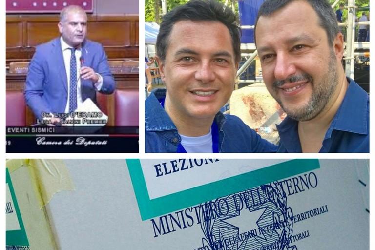 da sx D'Eramo, Altieri e Salvini della Lega