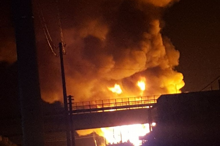 Incendio in via Bisceglie