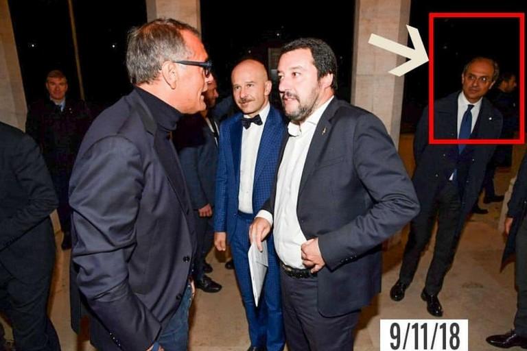 Nicola Giorgino fotografato vicino a Matteo Salvini