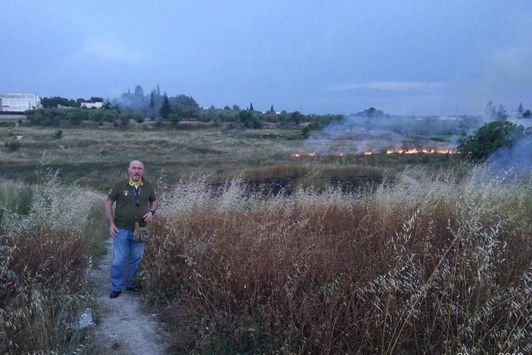 incendio nelle campagne di Andria