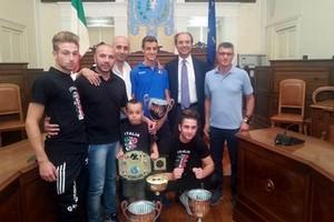 Premiazione in Comune di Francesco Fortunato e Team Sanzione