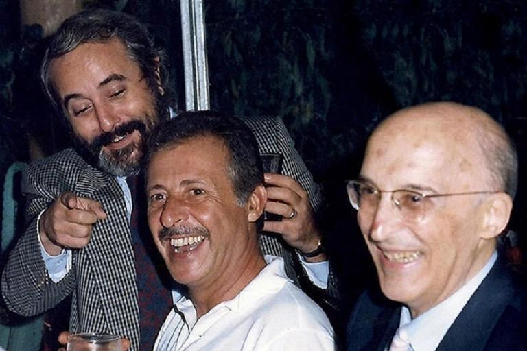 da sx i giudici Falcone, Borsellino e Caponnetto