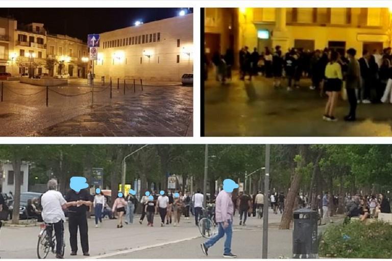 Piazza Duomo durante e dopo il lockdown In basso i recenti assembramenti in Villa Comunale LI
