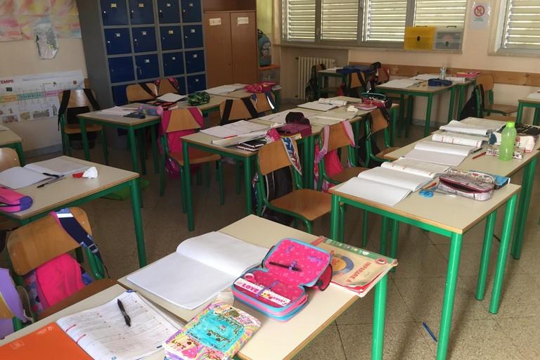 aula scolastica evacuata subito dopo la scossa sismica