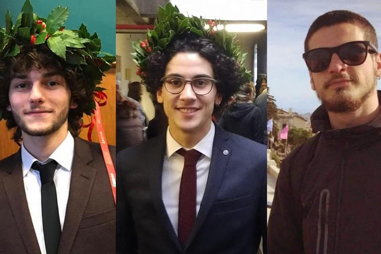 l laureandi Alessandro Marinelli, Giuseppe Guastamacchia e Filippo Leccese